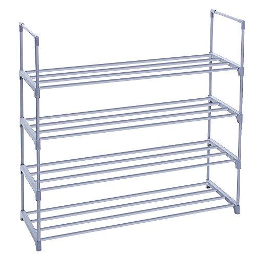 SONGMICS 4 Tier Shoe Rack Shoe Tower Shelf Storage Organizer Cabinet Grey  ULSA14G