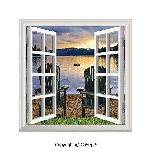 SCOXIXI Window Wall Sticker,Two Wooden Chairs on Relaxing Lakeside at Sunset Algonquin Provincial Park Canada,3D Window View Decal Home Decor Deco Art (25.86x22.63 - Chair Office Madrid