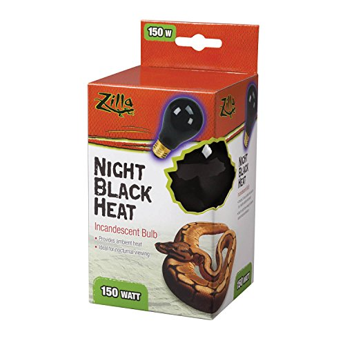 (Zilla Reptile Terrarium Heat Lamps Incandescent Bulb, Night Black,150W)