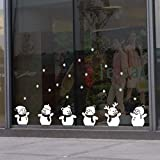 salaheiyodd Christmas Decal Window Clings Wall Stickers Christmas Decorations Removable Art Decor DIY Christmas Cute Snowman Snowflake Wall Decal Winter Ornaments Party Supplies