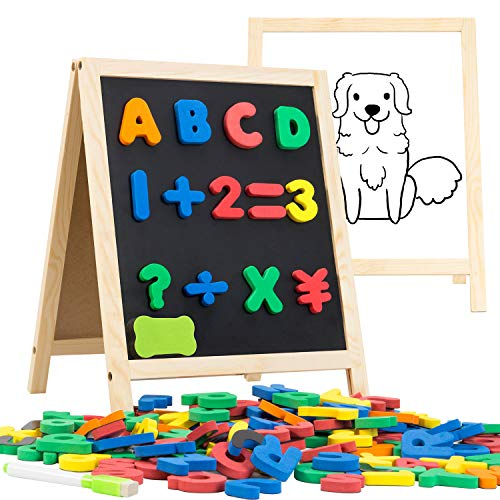 INNOCHEER Magnetic Letters and Numbers with Easel for Kids- 133 Pieces Alphabet Magnets, Educational Dry Erase Board - Whiteboard & Chalkboard for Toddlers Writing & Drawing