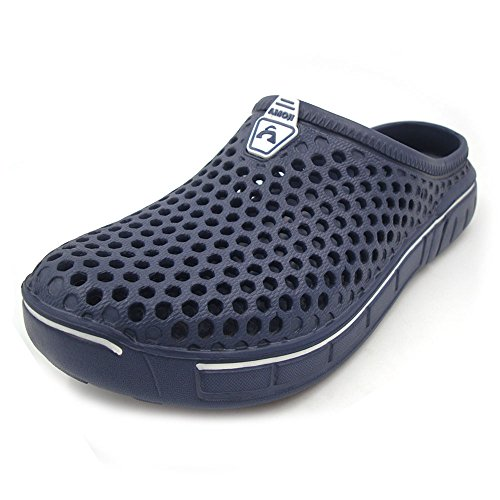 Amoji Unisex Garden Clogs Shoes Sandals Slippers Men Women Ladies Navy 13US W/11US M