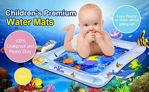 Infants Premium Pad Toy with Fish Fun Time Play Activity for 3 Months and Up Toddlerss Stimulation Growth Baby Water Play Mat Virwir Tummy Time Inflatable Water Mat for Babies