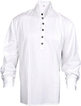 MyGothicShop Camisa del Pirata de los Hombres del Renacimiento Medieval del Caribe Hippie Traje Todos los tamaños de Color Blanquecino: Amazon.es: Ropa y accesorios