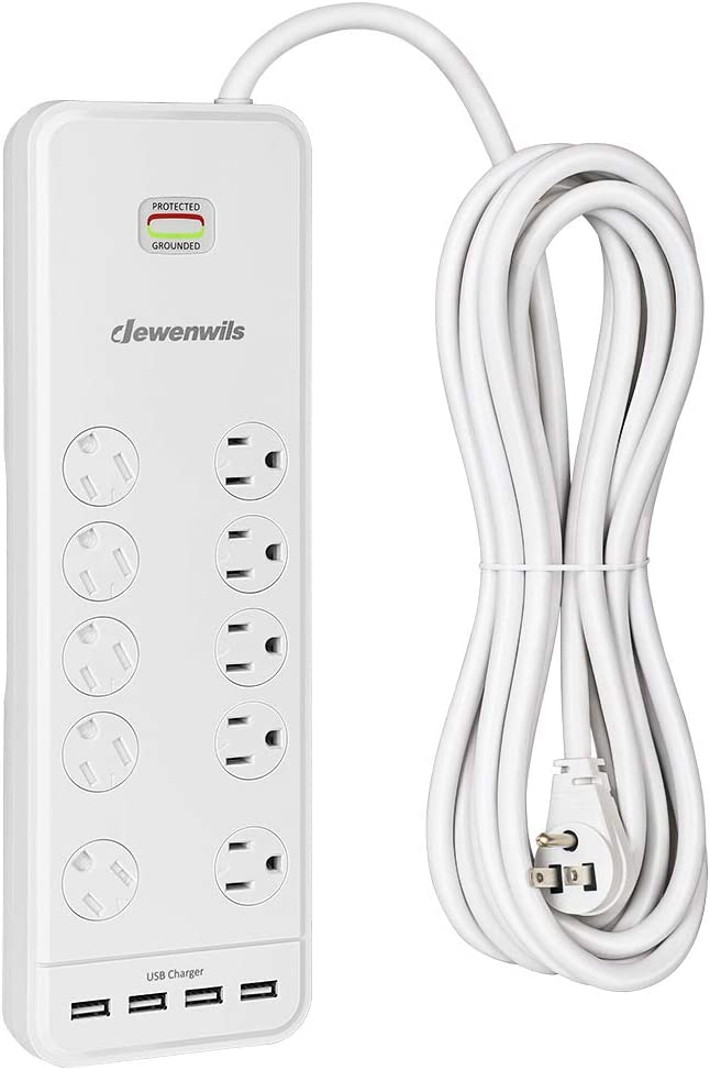 DEWENWILS 10-Outlet Surge Protector Power Strip with 4 USB Ports, 15 FT Long Extension Cord, Right Angle Flat Plug, 2480J Surge Rating 15AMP Circuit Breaker, Wall Mountable, White, UL Listed