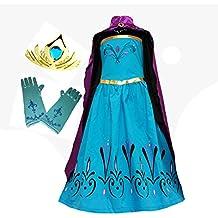 American Vogue Elsa Coronation Dress Costume + Cape + Gloves + Tiara Crown