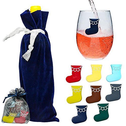 Coded Wine Bottle Tags - Magnetic Wine Glass Charms Holiday Xmas Stockings : Cup Identifiers For Glasses, Wine Party Favors : Great Idea For Bachelorette, Girls Night,  Beach House : Set of 8, Includes Velvet Wine Bag