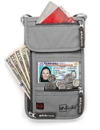 RFID Travel Pouch Passport Holder   Premium Waterproof Neck Wallet Stash