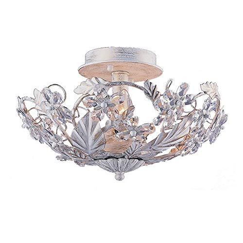 5305-AW Abbie 3LT Semi-Flush, Antique White Finish with Hand Cut Crystal Accents