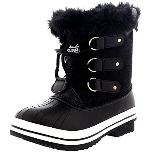 Unisex Kids Pull On Drawstring Closure Winter Snow Rain Fur Lined Boots - 1 - BLK33 YC0150