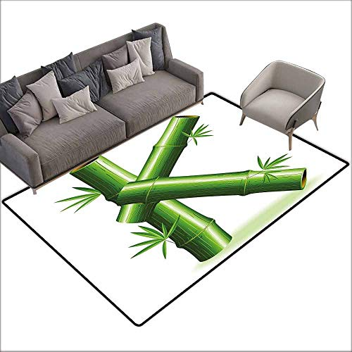Office Chair Floor Mat Foot Pad Letter K,Bamboo Letter K Capital Green Leafs Nature Inspired Alphabet Font Design Print,Green White 80