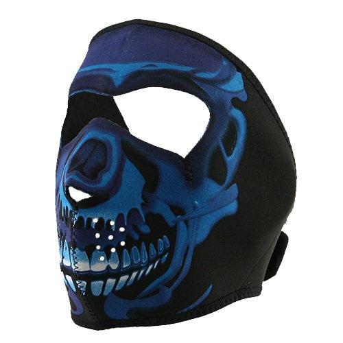 Neoprene Full Face Mask - Blue Chrome Skull