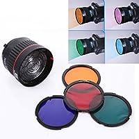 EACHSHOT NG-10X Professional Fresnel focusing lens for LED or Flash studio light Focus Lens Bowen Mount for Flash& Led Light with 4 Color Filter