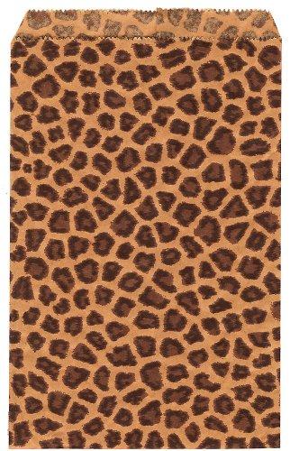 200 pcs Leopard Print Paper Gift Bags Shopping Sales Tote Ba