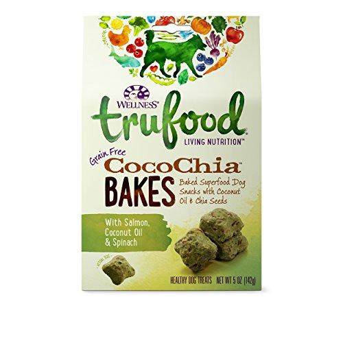Wellness TruFood CocoChia Bakes Natural Grain Free Dog Treats, Salmon, Coconut Oil & Spinach, 5-Ounce Bag (Coconut Treats For Dogs)
