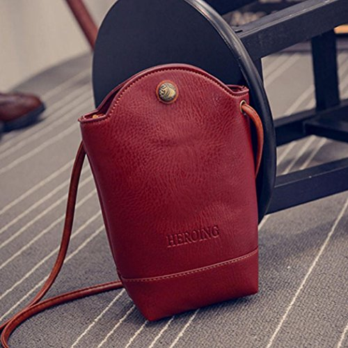 Bags Small PU Slim Satchel Bags Leather Vintage Shoulder Women Crossbody for Red CieKen Cover Body OWxwFZ8x