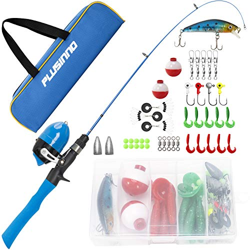 PLUSINNO Kids Fishing Pole with Travel Bag, Telescopic Fishing Rod and Reel Combos with Spincast Fishing Reel Full Kits for Kids,Boys,Youth Fishing (Blue Handle with Spincast Reel, 115CM 45.27IN) (Best Ice Fishing Pole)