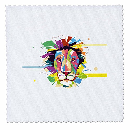 3dRose Sven Herkenrath Animal - Colorful Splash Design of Tiger Lion Head Portrait Wildlife - 25x25 inch quilt square (qs_280326_10) by 3dRose
