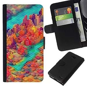 NEECELL GIFT forCITY // Billetera de cuero Caso Cubierta de protección Carcasa / Leather Wallet Case for LG OPTIMUS L90 // PIXEL COLORIDO DEL BLOQUE DE LA CIUDAD