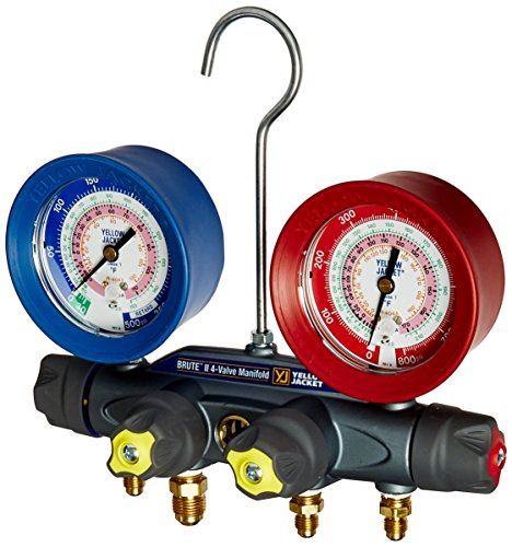 (Yellow Jacket 46010 Brute II 4-Valve Manifold with Red/Blue Gauges, bar/psi, R-22/404A/410A)