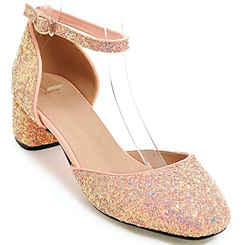 Toe Pink Dress DoraTasia Strap Pointy Wedding Bling Ankle Party Block Glitter Shoes Heel Low Pumps Women's zzEnZ