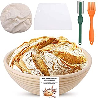RICK UNCLE 9 inch Banneton Bread Proofing Basket, 100% Handmade Natural Rattan Sourdough Rising Bowl Round Baskets for Bakery Home Bakers with + Cloth Liner + Dough Scraper + Bread Lame + Pastry Brush