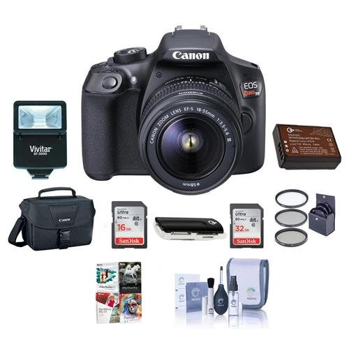 Adorama Canon EOS Rebel T6 DSLR Digital Camera with EF-S 18-55mm f/3.5-5.6 IS II Lens, Lexar SD 32GB MemoryCard, 58mm UV Filter Kit, Creative Suite Software,Value Accessory Kit.