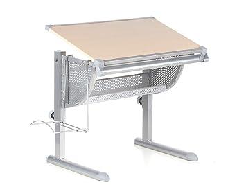 hjh office belia escritorio para nios ajustable de altura inclinacin haya plateado