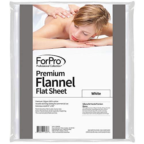 For Pro Premium Flannel Flat Sheet, White (Flannel Twin Flat Sheet)