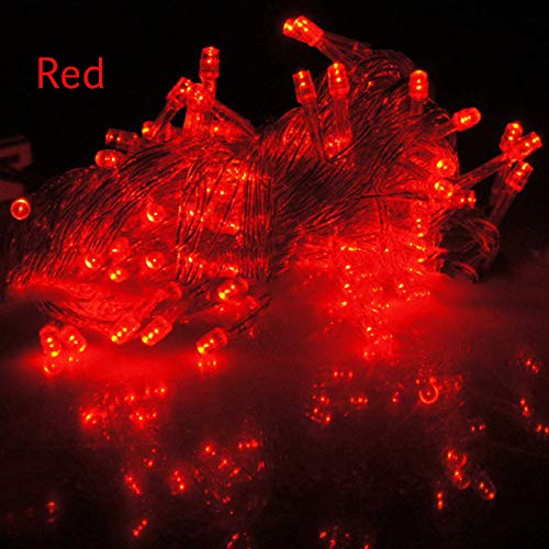 MSOO Christmas Tree Fairy Party Lights Waterproof 8-Color Controllable 100 LED 10M (Red)