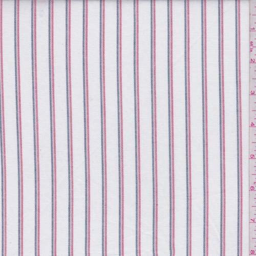 Cotton Shirting Fabric - White Multi Stripe Oxford Cotton Shirting, Fabric by The Yard