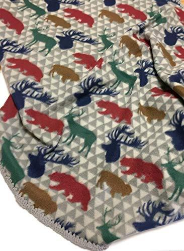 Baby Boy Blanket Fleece with Chenille Crochet Woodland Animals