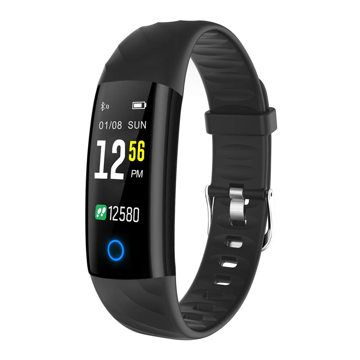 Montre Connectée, ELEGIANT Bracelet Connectée Intelligent Fitness Tracker IP68 Étanche Écran Coloré avec Cardiofréquencemètre Podomètre Moniteur de Sommeil ...