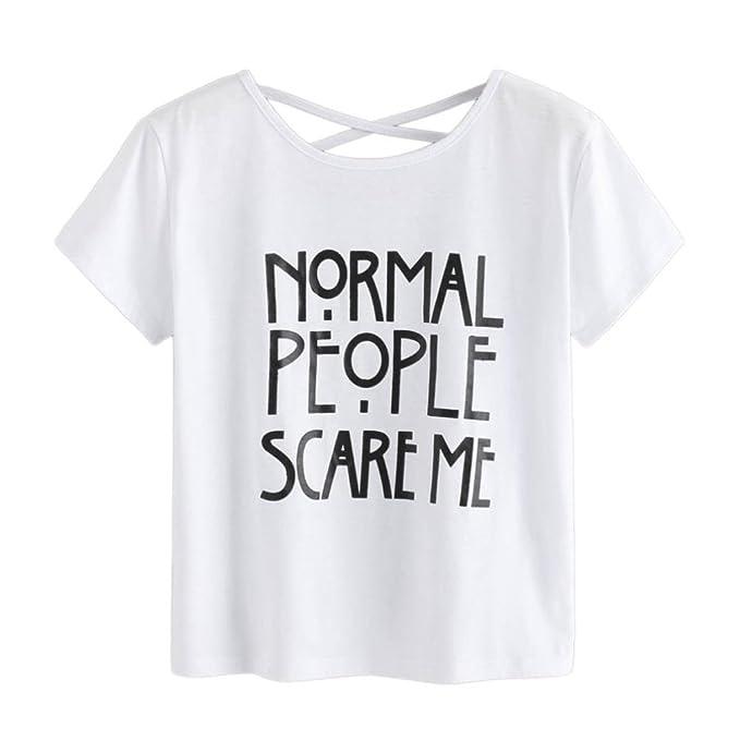 HUI Blusas de Verano Mujer, Blusas y Camisas Para Mujer Camiseta de Impresi