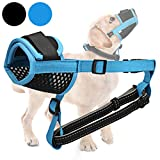 Gentle Dog Muzzle, Breathable Mesh Muzzle with Nose Pad for Small Medium Large Dogs Stop Barking, Biting and Chewing (M, Blue)