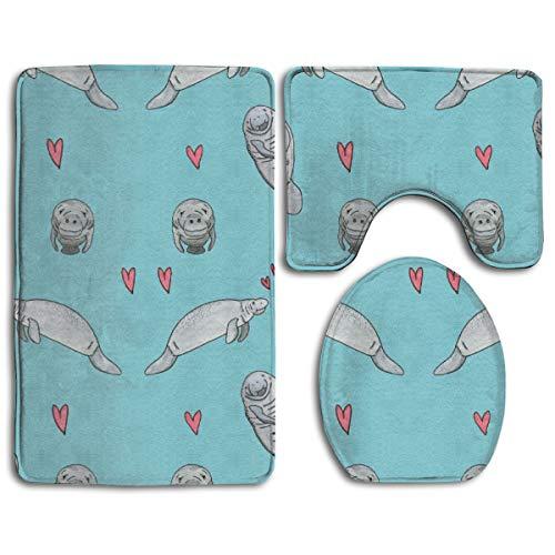 (Manatee Pattern 3 Pack Bath Mat Set Non-Slip Flannel for Men and Women Antibacterial Toilet Seats, Bathroom Carpets, Bathroom Accessories)
