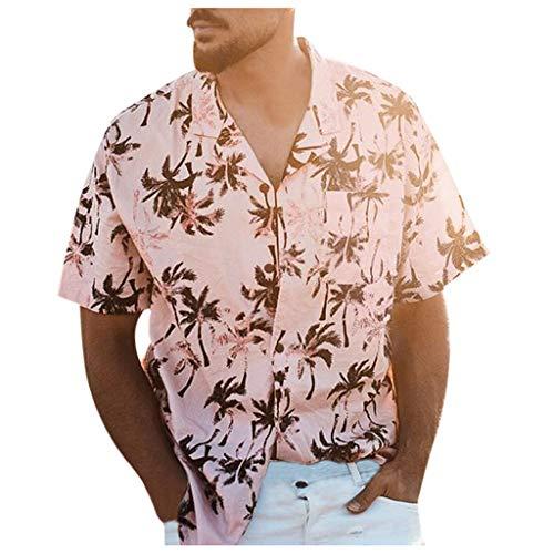 (Hawaiian Shirt for Men Short Sleeve Lightweight Soft Coconut Tree Pattern Beach (M, Pink))