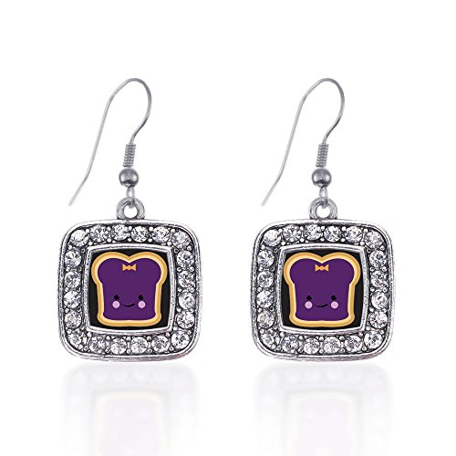 Inspired Silver Jelly Classic Charm Earrings Square French Hook Clear Crystal Rhinestones