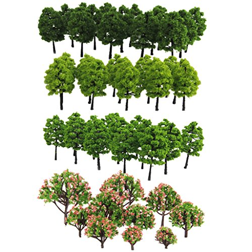 Jili Online Pack of 70 Model Trees DIY Train Street Railway Scenery Landscape Accssory 1.18-3.54inch HO Z TT Scale