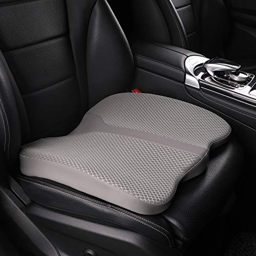 LARROUS Car Memory Foam Heightening Seat Cushion,Tailbone (Coccyx) and Back Pain Rrelief Cushion,Office Chair,Wheelchair and More.