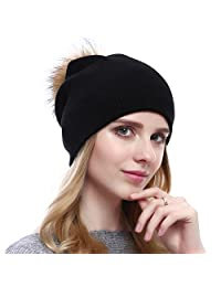 Winter Wool Strechy Beanie Trendy Oversized Caps with Natural Fur Pom-pom