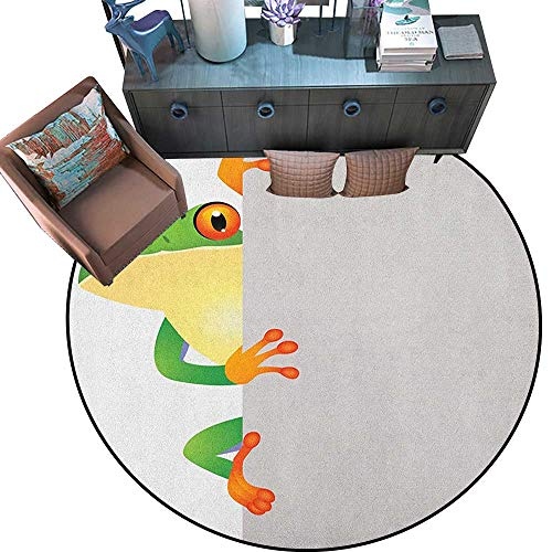 Reptile Home Decor Circle Area Rug Funky Frog Prince with Big Eyes on Wall Camouflage Nursery Reptiles Theme Round Area Rug Carpet (79