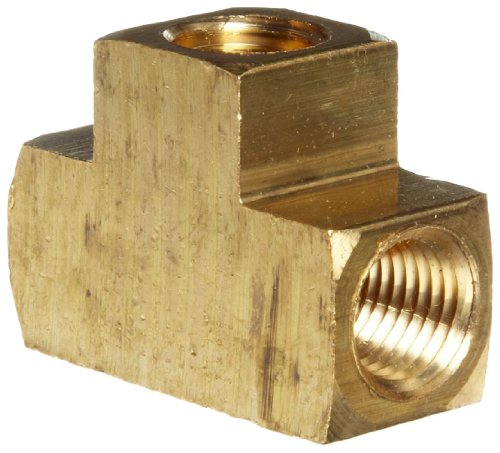 Merit Brass NLF106-04-25 Lead Free Brass Pipe Fitting, Tee, 1/4'' National Pipe Taper Thread Female (Pack of 25) by Merit Brass