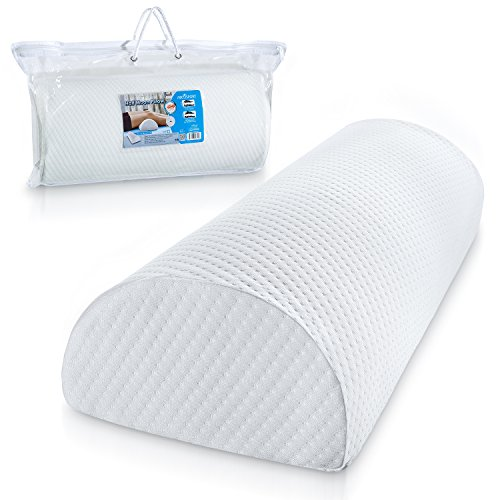 Abco Tech Half Moon Pillow Bolster - Pain Relief Memory Foam Cushion with Removable/Washable Cotton Cover – Reduced Stress on Spine, Effective Support for Side and Back Sleepers etc. (White) by Abco Tech (Image #8)