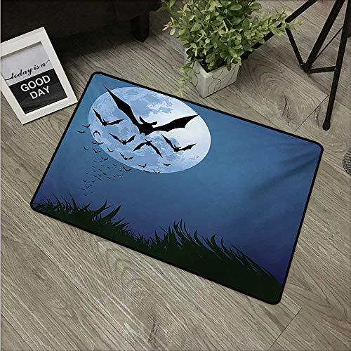 Anzhutwelve Halloween,Indoor Floor Mats A Cloud of Bats Flying Through The Night with a Full Moon Fall Season W 31