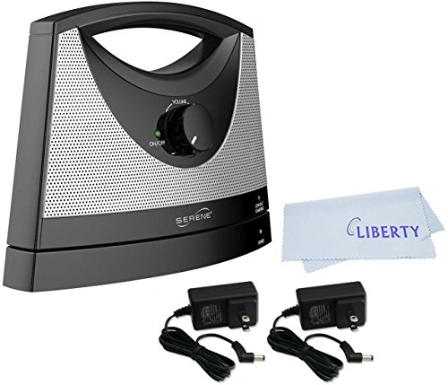 (Serene Innovations TV-SB Portable Wireless Tv Soundbox with Extra Power Adapter with LIBERTY Microfiber Cleaning Cloth)