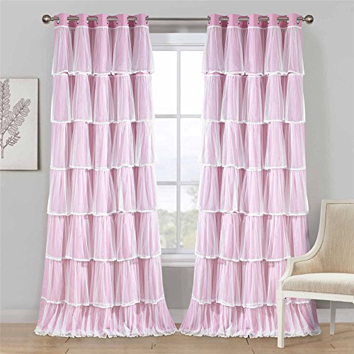 Dreaming Casa Room Darkening Blackout Curtains with Tulle Sheer Overlay Thermal Insulted Solid Window Treatment Lace Edge 63 Inches Long Grommet Privacy Ruffled Drapes 2 Panels (Pink, 42