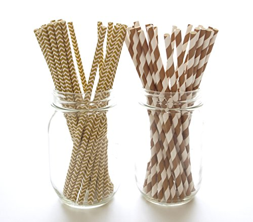Brown Striped Paper Bags - 6