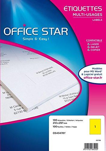 Office Star Boîte De 100 Etiketten – Mehrzweck – 210 x 297 mm – gelb (os43478y) B01N14JCYM     | Haltbar
