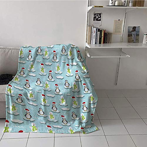 Khaki home Children's Blanket Boys Print Digital Printing Blanket (35 by 60 Inch,Kids,Cute Penguins and Snowmans on Ice Floes Antarctica Cartoon Caps Scarfs Funny Pattern,Multicolor